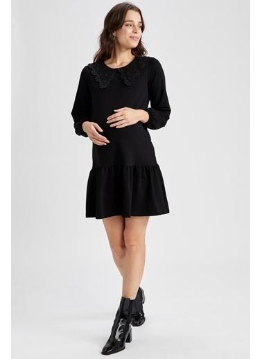 DeFacto Volanlı Etek Detaylı Hamile Elbisesi Siyah